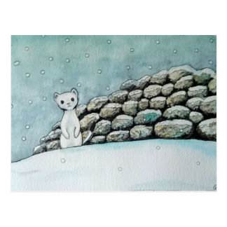 Ermine in the snow postcard
