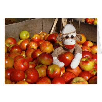 Ernie the Sock Monkey Apples Note Card