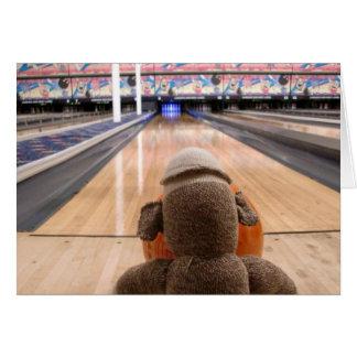 Ernie the Sock Monkey Bowling Note Card