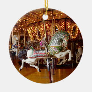 Ernie the Sock Monkey Carousel Round Ornament