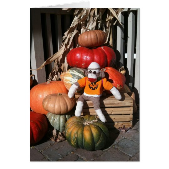 Ernie the Sock Monkey Halloween Pumpkin Card