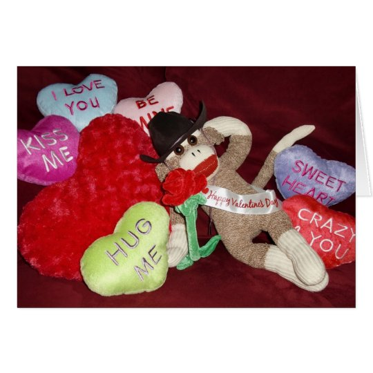 Ernie the Sock Monkey Hearts Valentine Card