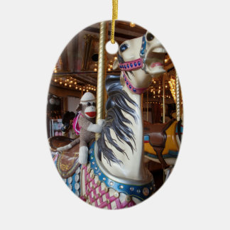 Ernie the Sock Monkey Oval Carousel Ornament