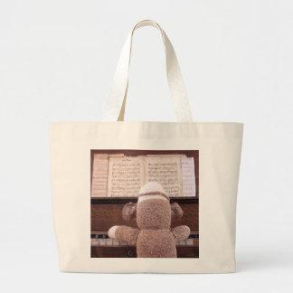 Ernie the Sock Monkey Piano Tote Bag