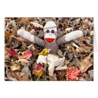 Ernie the Sock Monkey Pile of Leaves Note Card
