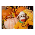 Ernie the Sock Monkey Pumpkin Note Card
