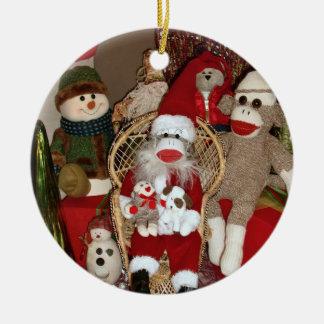Ernie the Sock Monkey Visits Santa Round Ornament