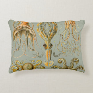 Ernst Haeckel Gamochonia Print Octopus & Squid Art Accent Pillow