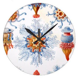 Ernst Haeckel Siphonophorae jellyfish bluebottle! Large Clock