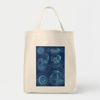 Ernst Haeckel's Leptomedusae (Dark Blue) Tote Bag