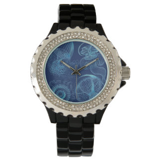 Ernst Haeckel's Leptomedusae (Dark Blue) Watches