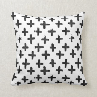 Eroded Black Watercolor Crosses on White Pillow