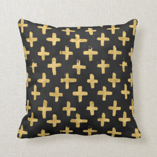 Eroded Golden Crosses on Black Watercolor Pillow
