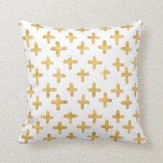 Eroded Golden Crosses on White Background Pillow