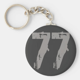 Eroded Style Number 77 Basic Round Button Keychain