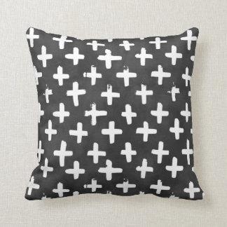 Eroded White Crosses on Black Watercolor Pillow