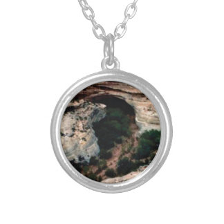 Erosion pockets in desert silver plated necklace