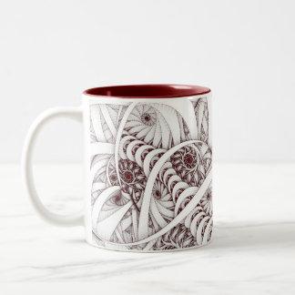 """Errant Traipse"" Red and White Spiral Fractal Two-Tone Coffee Mug"