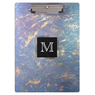Erratic Office   Monogram Watercolor Pastel Gold   Clipboard