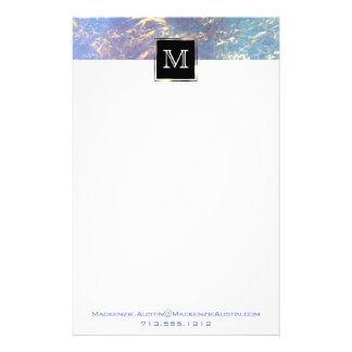Erratic Office | Monogram Watercolor Rainbow Gold Stationery