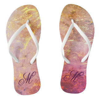 Erratic Style | Watercolor Pink Orange Gold | Flip Flops