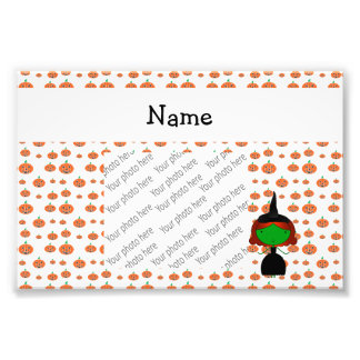 ersonalized name witch orange pumpkins photo