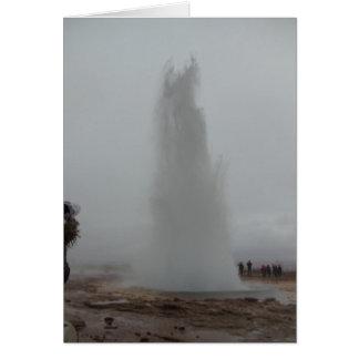 Erupting geyser, Geysir, Iceland Card