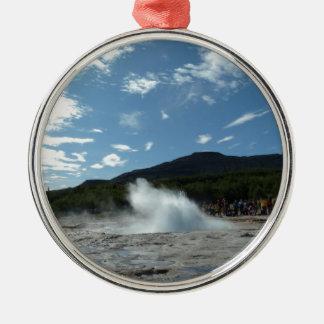 Erupting geyser in Iceland Metal Ornament