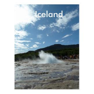 Erupting geyser in Iceland Postcard