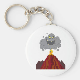 Erupting Of Volcano With Black A Black Cloud Keychain