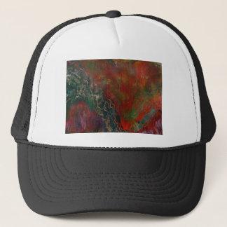 Erupting volcanic landscape trucker hat