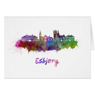 Esbjerg skyline in watercolor card