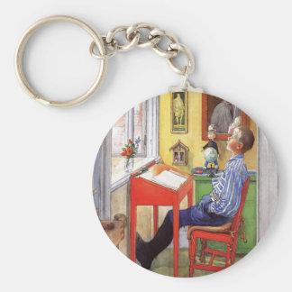 Esbjorn Doing His Homework by Carl Larsson Basic Round Button Keychain