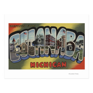 Escanaba, Michigan - Large Letter Scenes Postcard