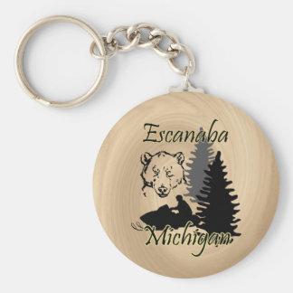 Escanaba Michigan Snowmobile Bear Wood Look Basic Round Button Keychain