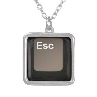 Escape Key / Button Silver Plated Necklace