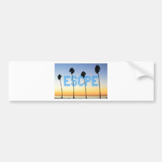 Escape to palm trees design bumper sticker