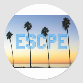 Escape to palm trees design classic round sticker