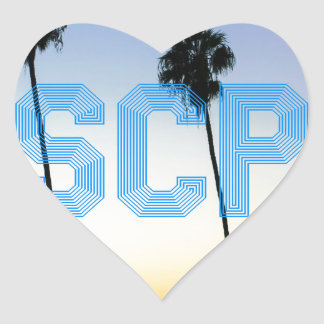 Escape to palm trees design heart sticker