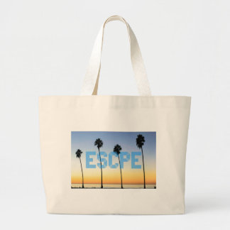 Escape to palm trees design large tote bag