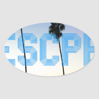 Escape to palm trees design oval sticker