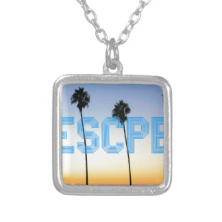 Escape to palm trees design silver plated necklace