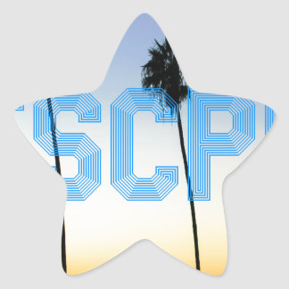 Escape to palm trees design star sticker