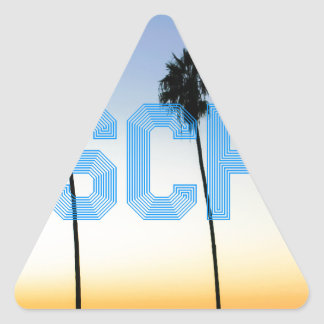 Escape to palm trees design triangle sticker
