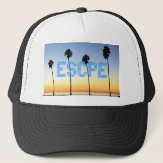 Escape to palm trees design trucker hat