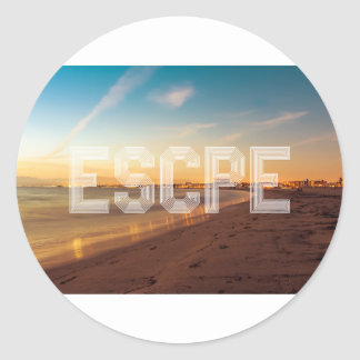Escape to the beach design classic round sticker
