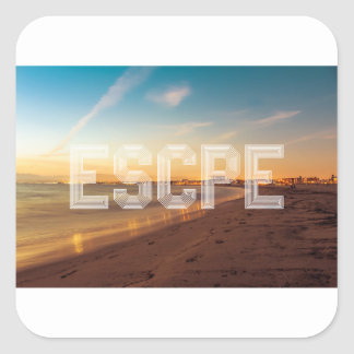Escape to the beach design square sticker