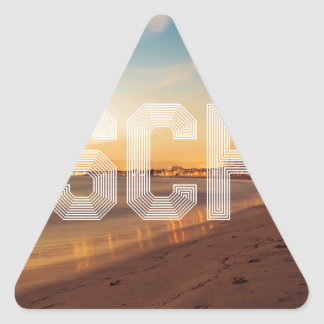 Escape to the beach design triangle sticker
