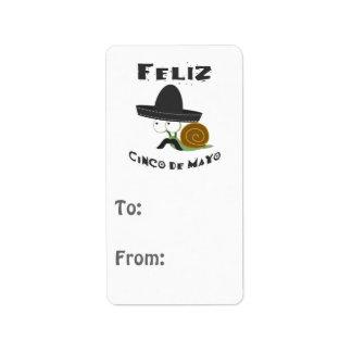 Escargot de Feliz Cinco De Mayo Étiquettes D'adresse