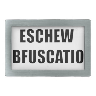 Eschew obfuscation belt buckles
